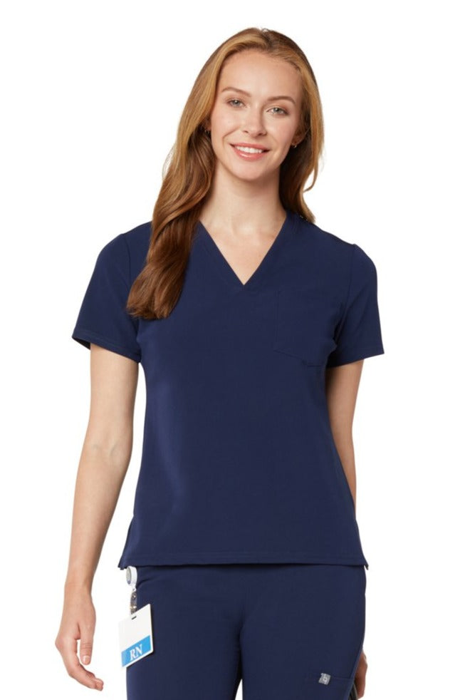 Women's One-Pocket Scrub Top - Navy Blue
