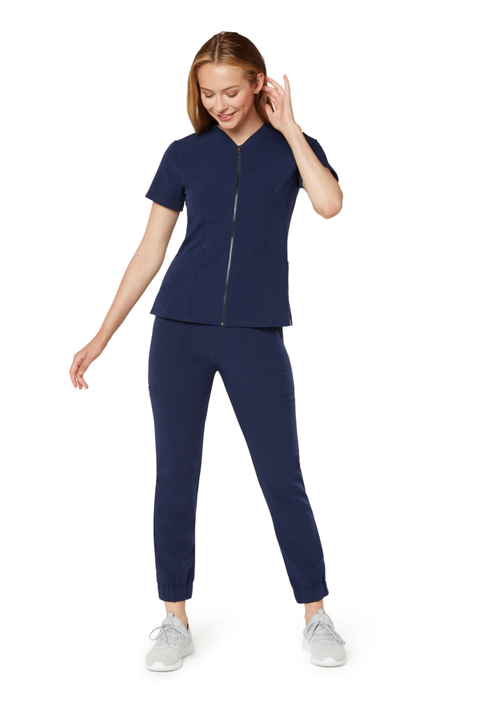 Women's Zipper Top - Navy Blue