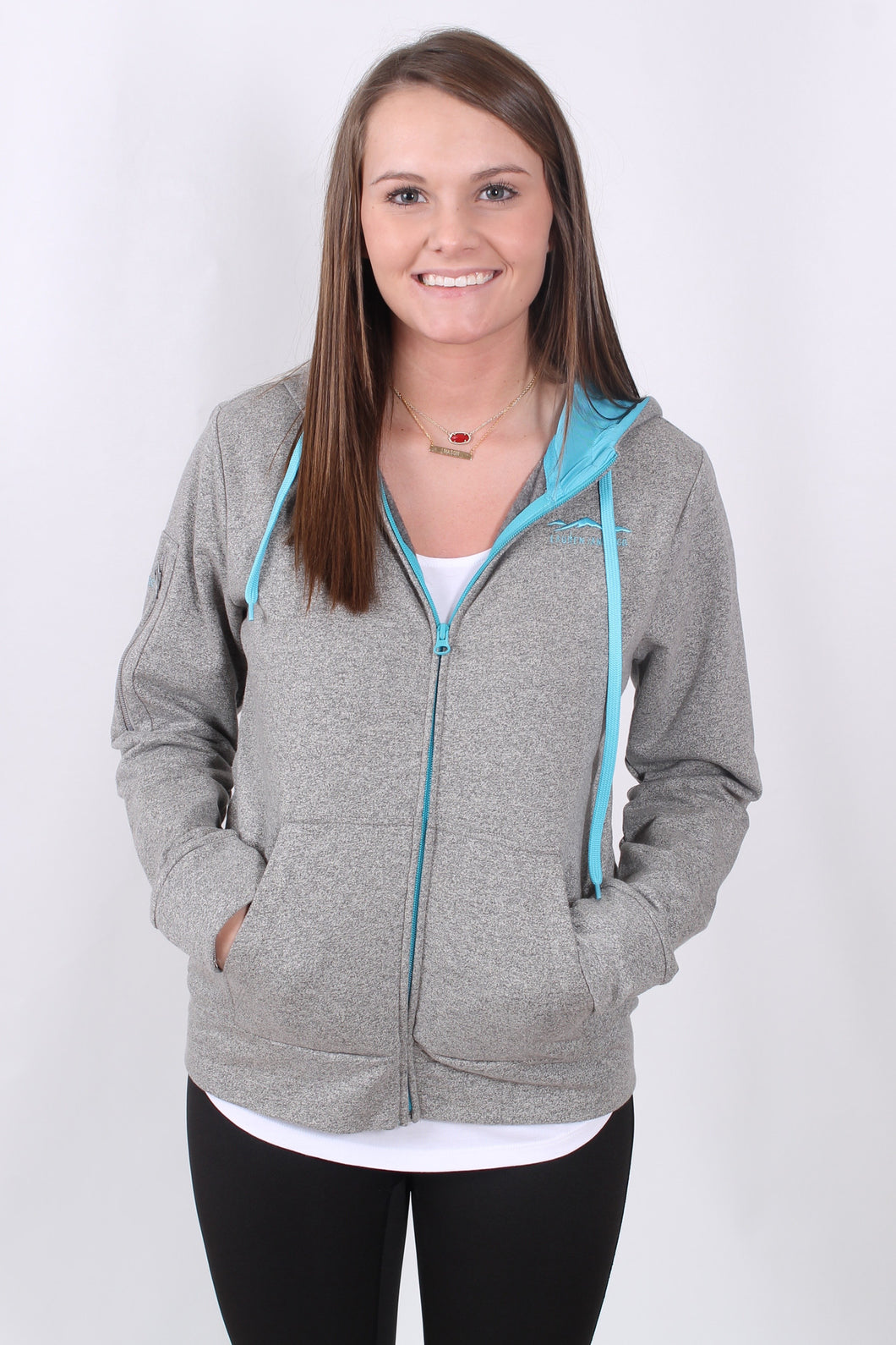 Grey and Glacier Blue Jacket- Lauren James Preptec Zip Hoodie Front