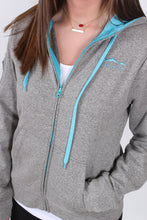 Grey and Glacier Blue Jacket- Lauren James Preptec Zip Hoodie Detail