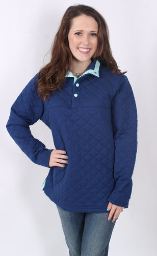 Estate Blue Pullover- Lauren James Lawson Quilted Pullover Front