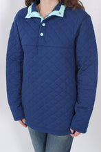 Estate Blue Pullover- Lauren James Lawson Quilted Pullover Detail