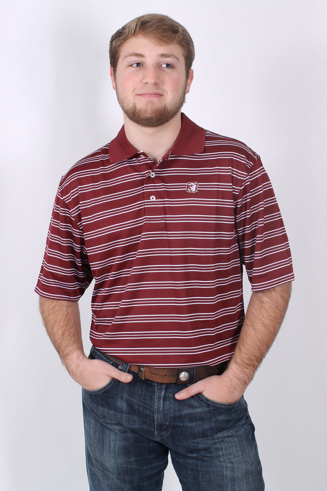 Maroon and White Polo- Southern Collegiate Tailgate Polo Front