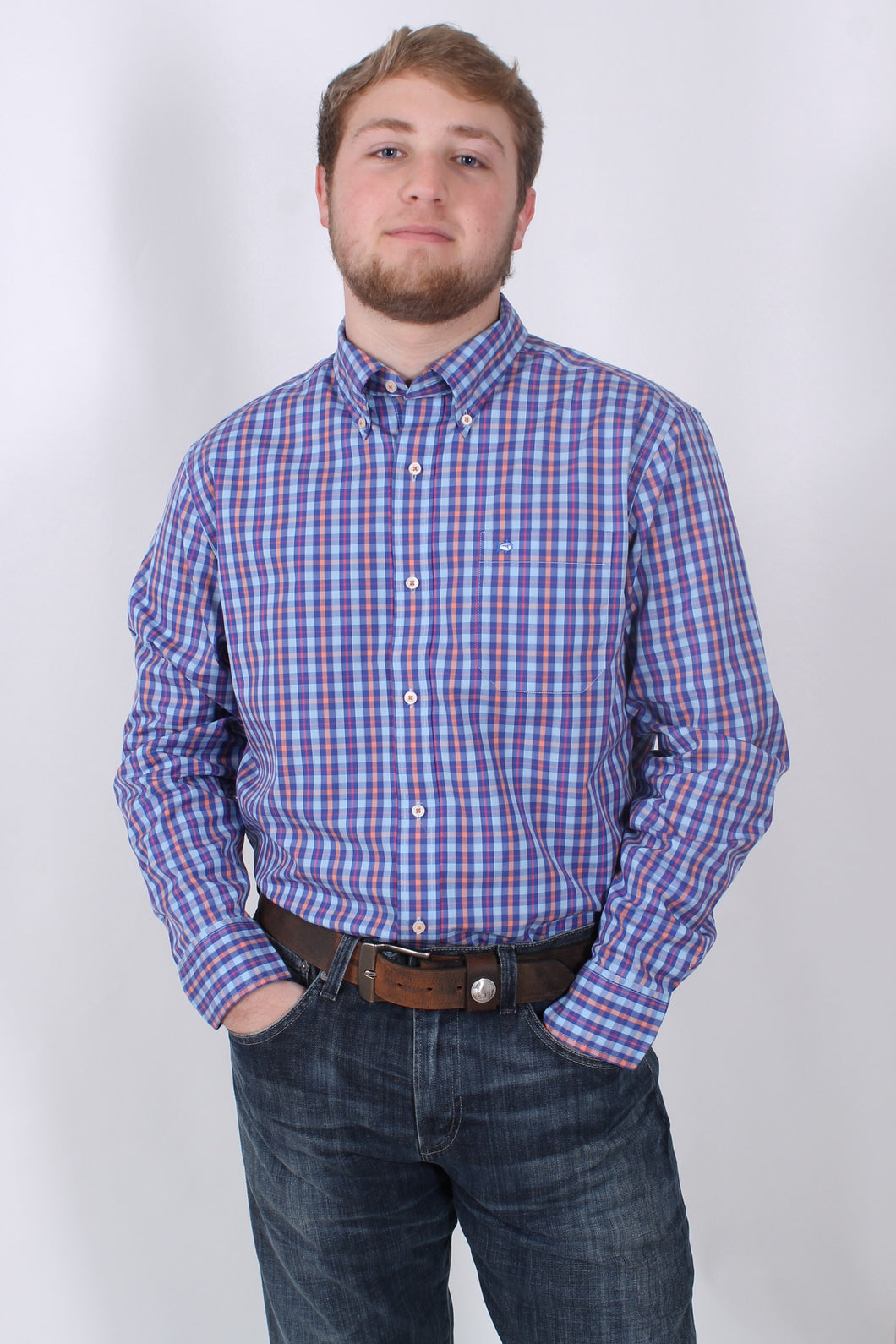 Blue Plaid Button Down- Southern Tide Button Down Front