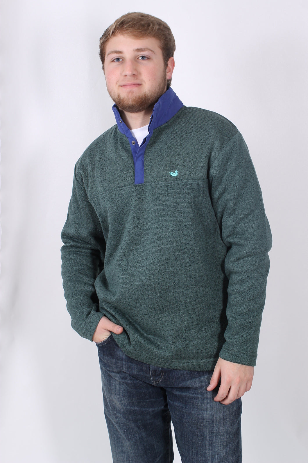 Dark Green Pullover- Southern Marsh Woodford Snap Performance Pullover Front