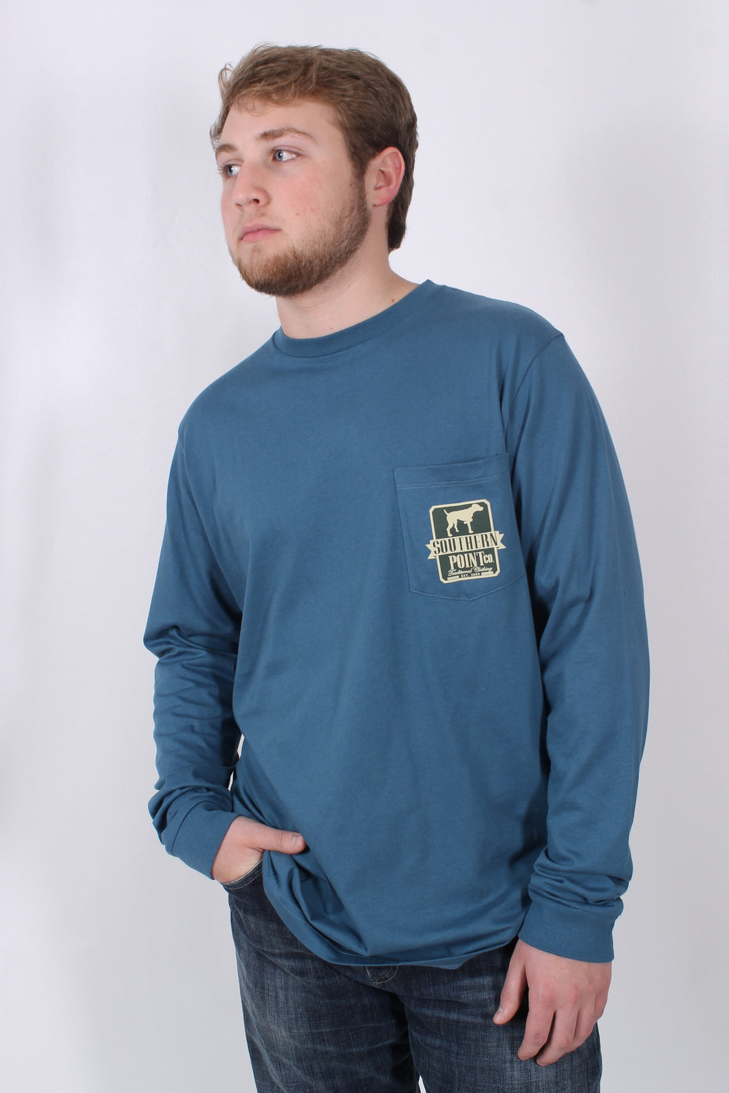 Blue L/S- Southern Point Camo Shield Long Sleeve T-Shirt Front
