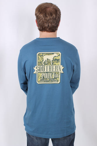 Blue L/S- Southern Point Camo Shield Long Sleeve T-Shirt Back