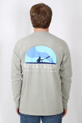 Khaki L/S- Waters Bluff Long Sleeve Tee Back
