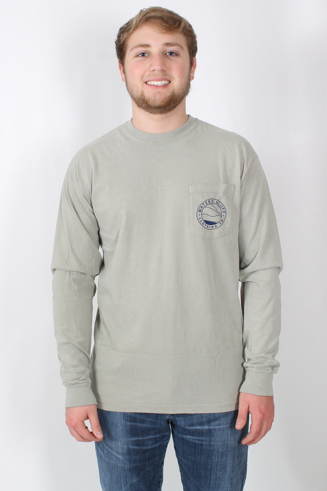 Khaki L/S- Waters Bluff Long Sleeve Tee Front