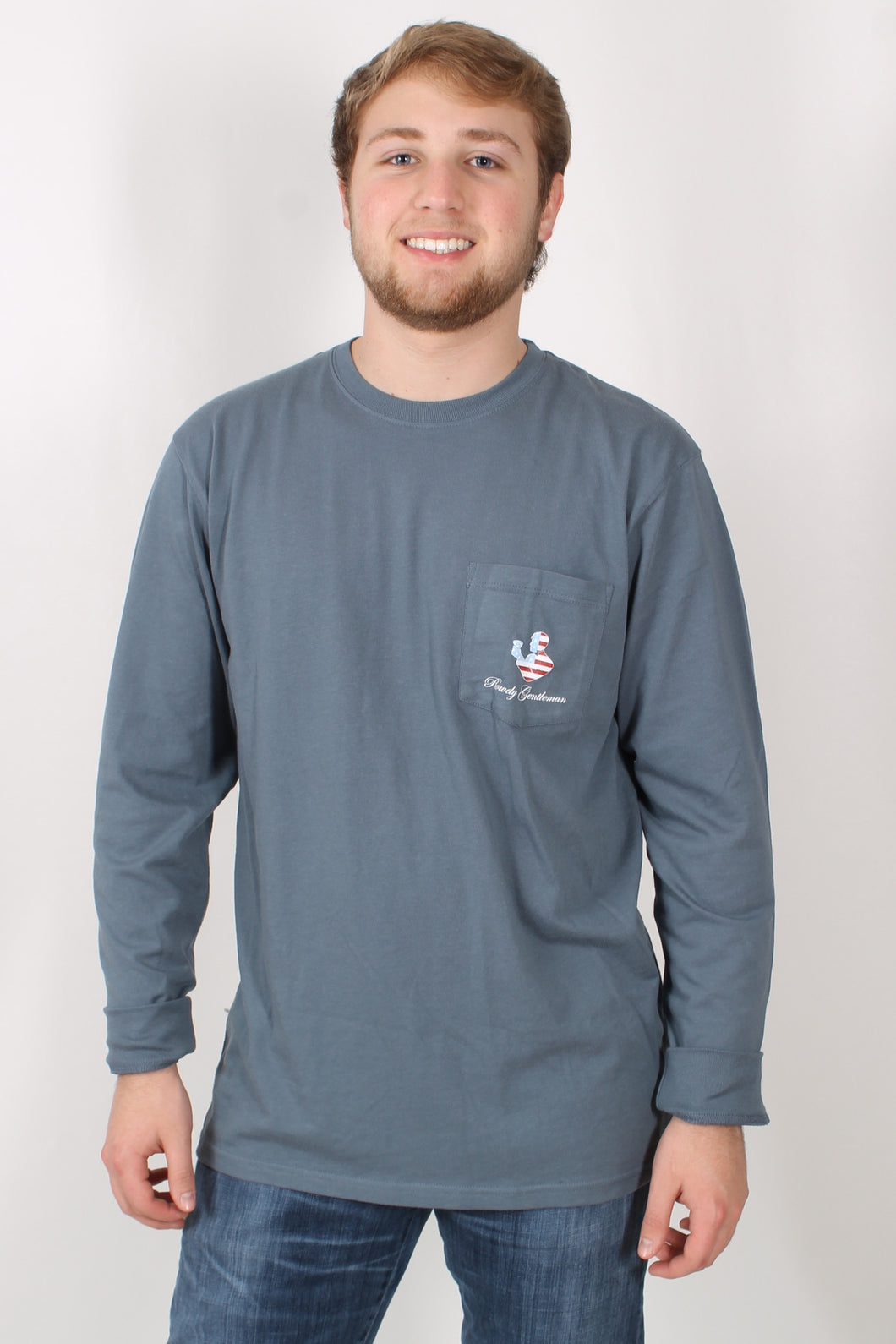 Blue L/S- Rowdy Gentleman Flag Long Sleeve Front