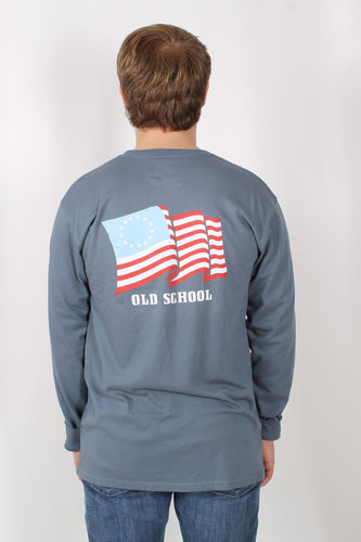 Blue L/S- Rowdy Gentleman Flag Long Sleeve Back