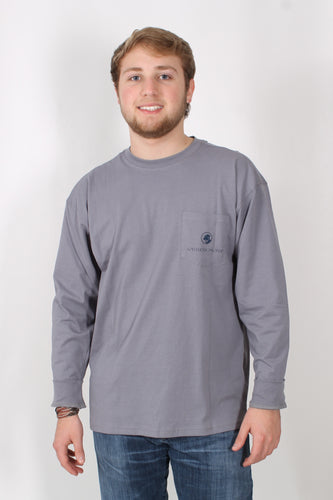 Grey L/S- Southern Proper Leaves Long Sleeve T-Shirt Front