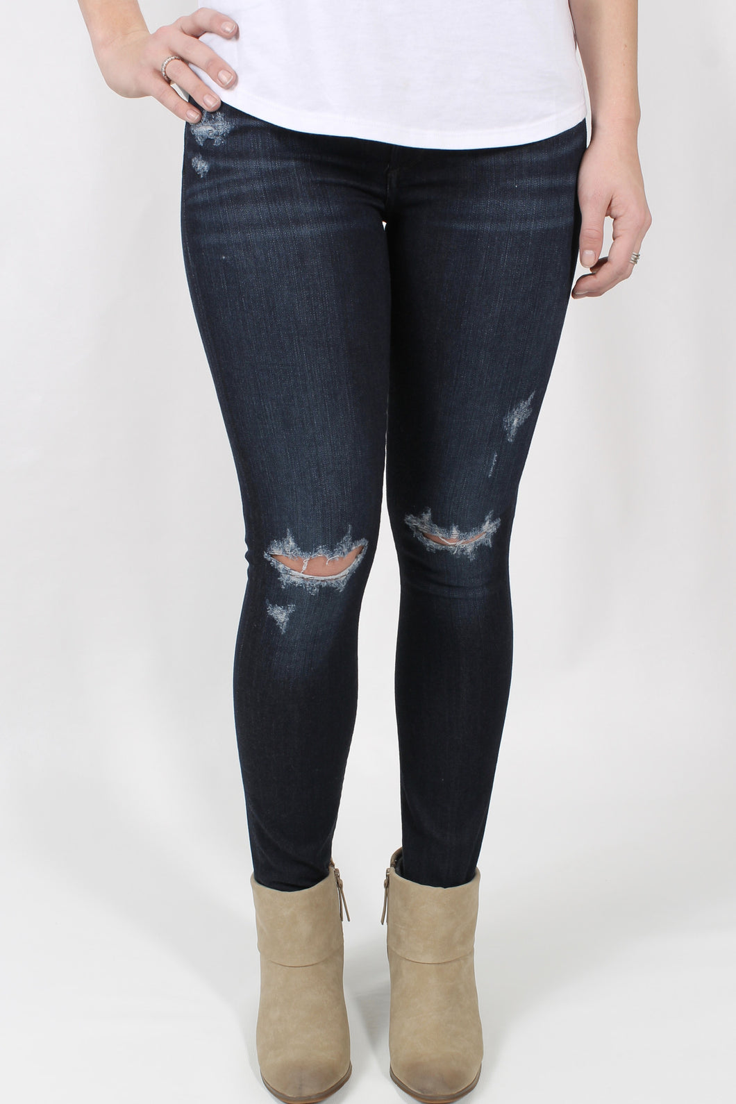 Distressed Night Owl Jeans- Citizen Avedon Ultra Skinny Front