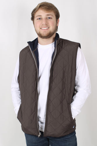 Midnight Grey Vest- Southern Marsh Marshall Quilted Vest Front
