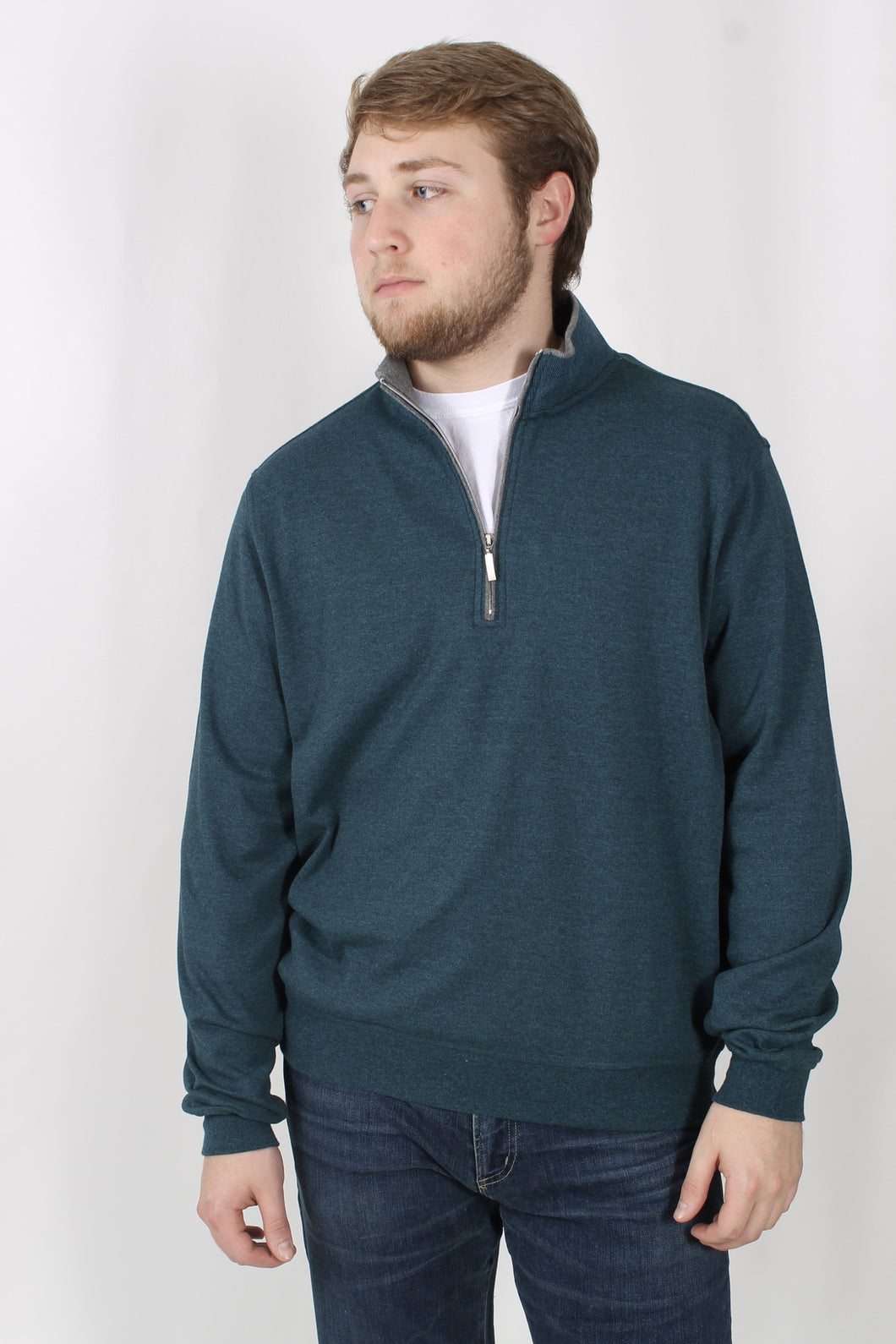 Teal Pullover- Carnoustie 1/4 Zip Pullover Front