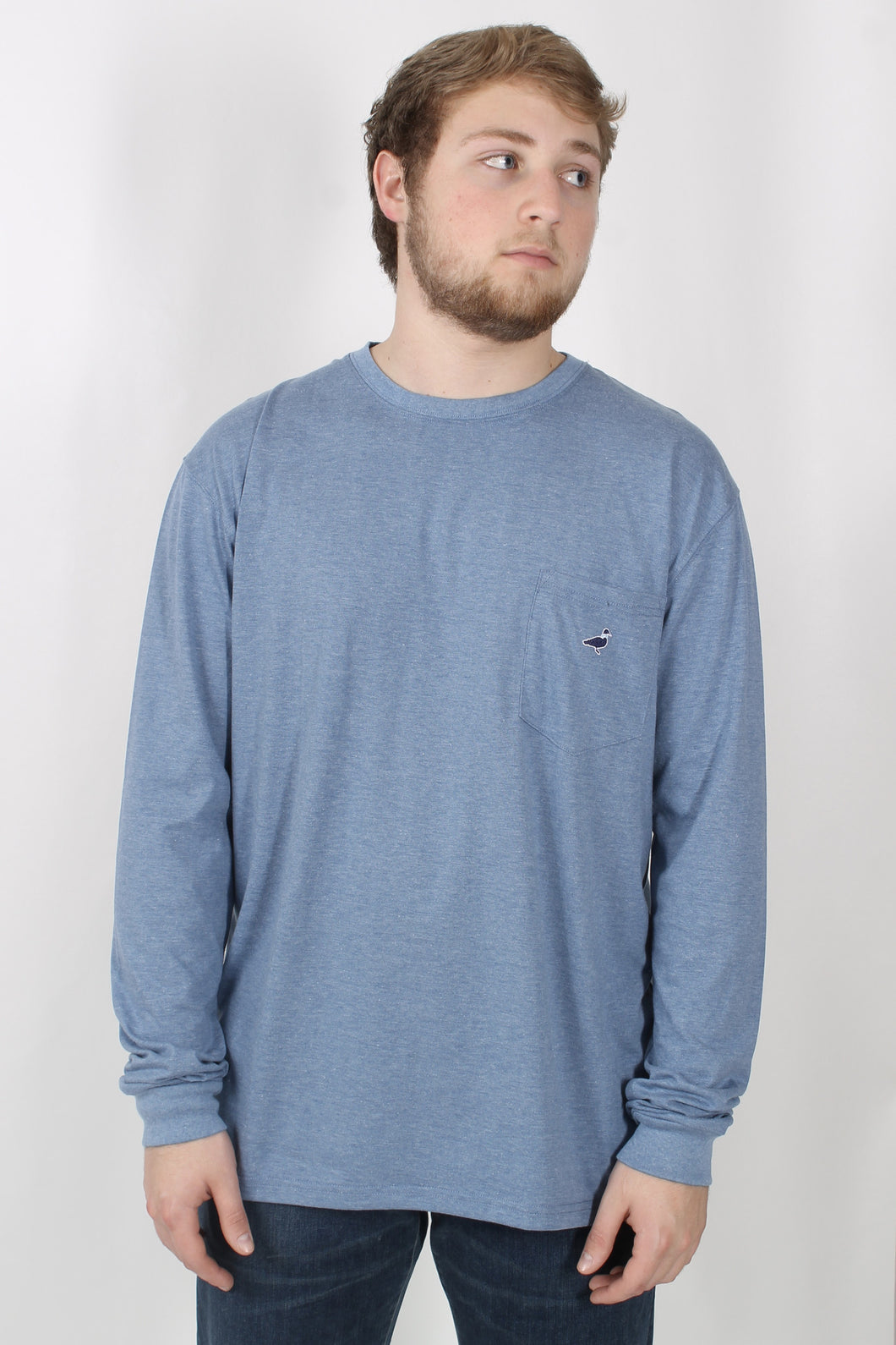 Denim Blue L/S- Properly Tied Embroidered Pocket Tee Front