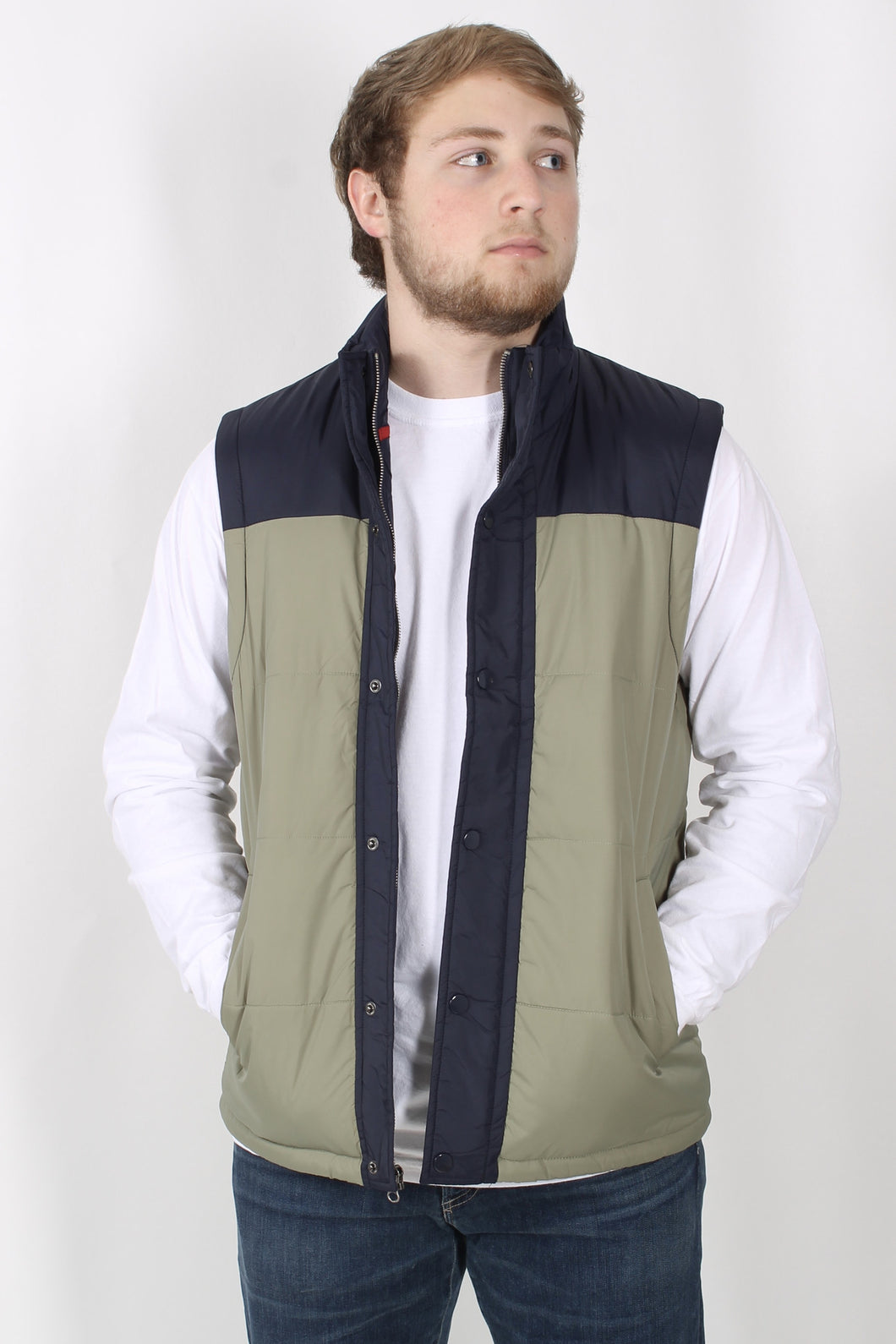 Green/Navy Vest- Southern Proper Campground Vest Front