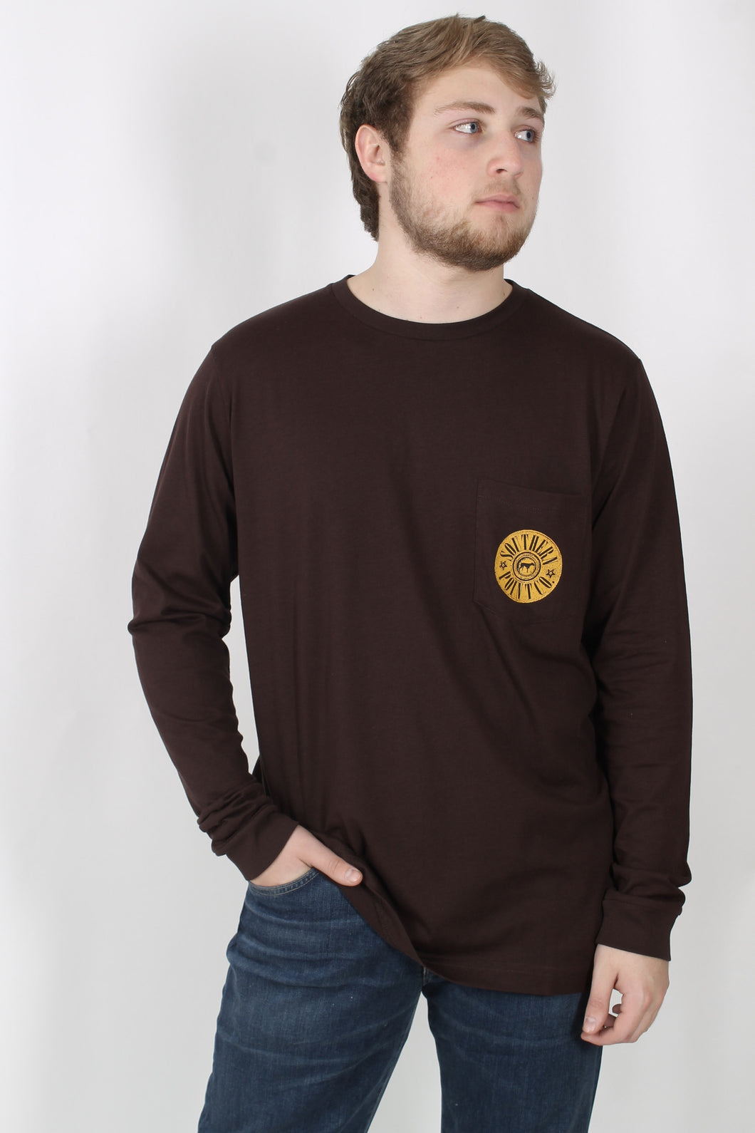 Brown L/S- Southern Point Long Sleeve Duck T-Shirt Front