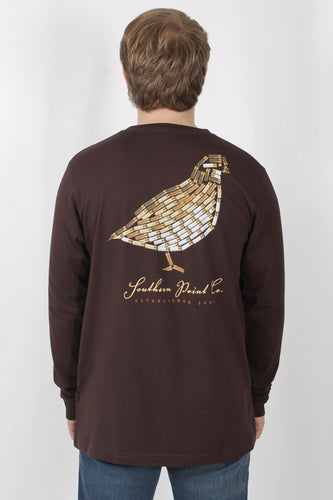 Brown L/S- Southern Point Long Sleeve Duck T-Shirt Back
