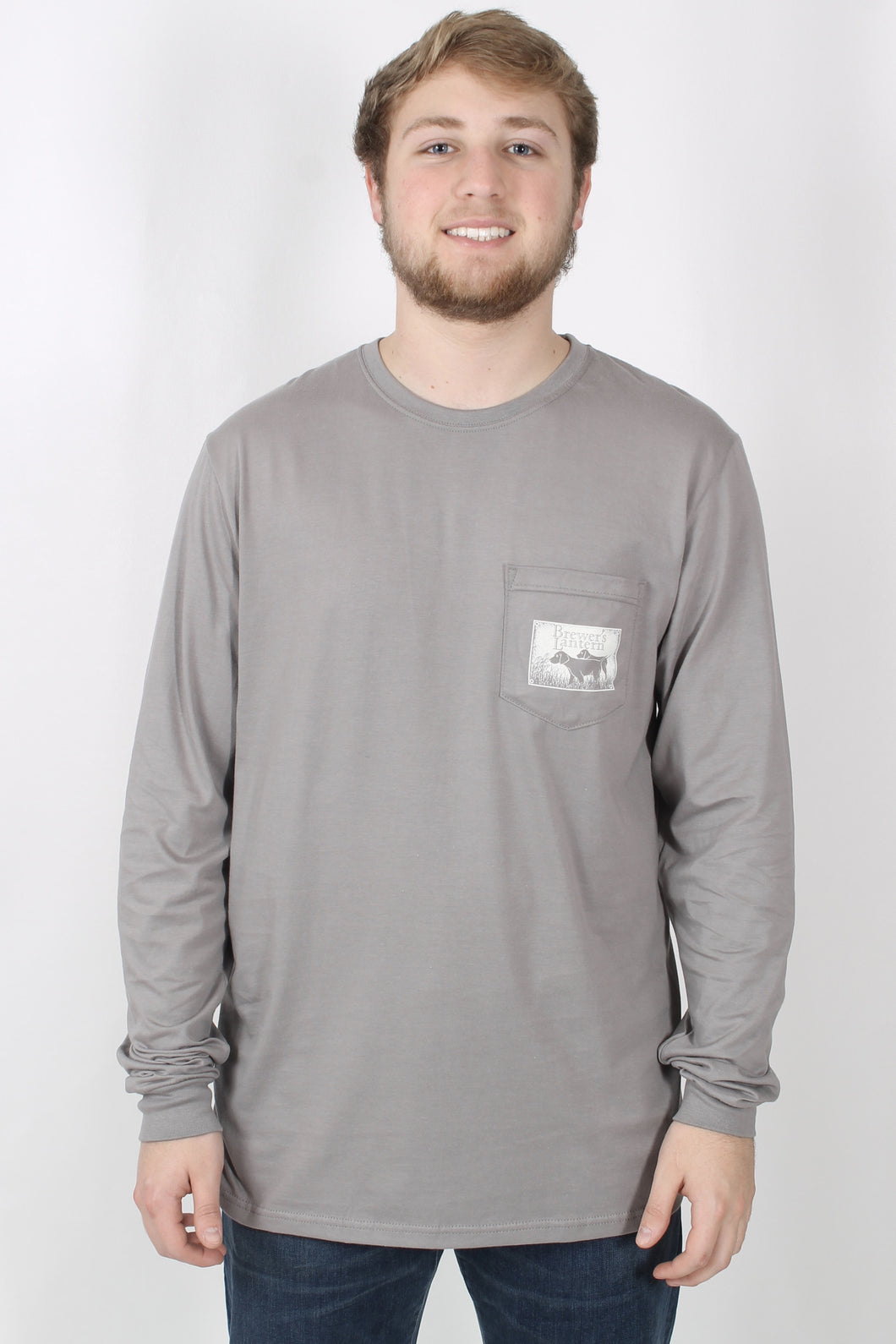 Grey L/S- Brewer's Lantern Dog Long Sleeve Front