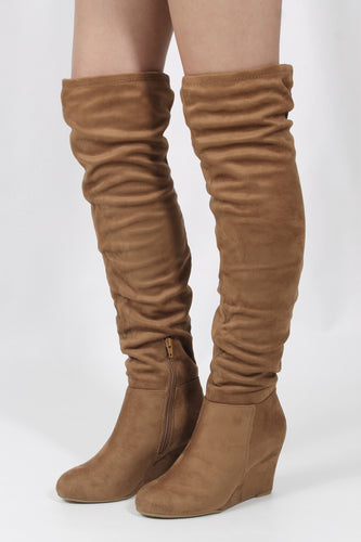 Suedette Camel Knee High Boots- Chinese Laundry Ultra