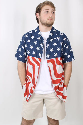 Rowdy Gentleman Stars N Stripes Hawaiian Shirt Front