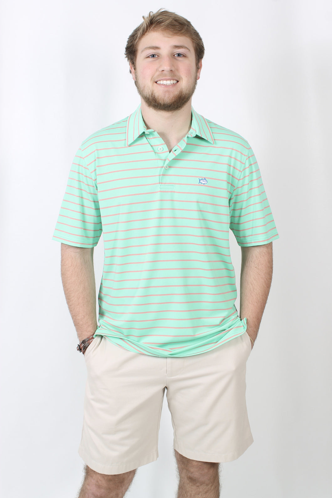 Starboard Green Polo- Southern Tide Driver Stripe Performance Polo Front