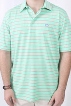 Starboard Green Polo- Southern Tide Driver Stripe Performance Polo Detail