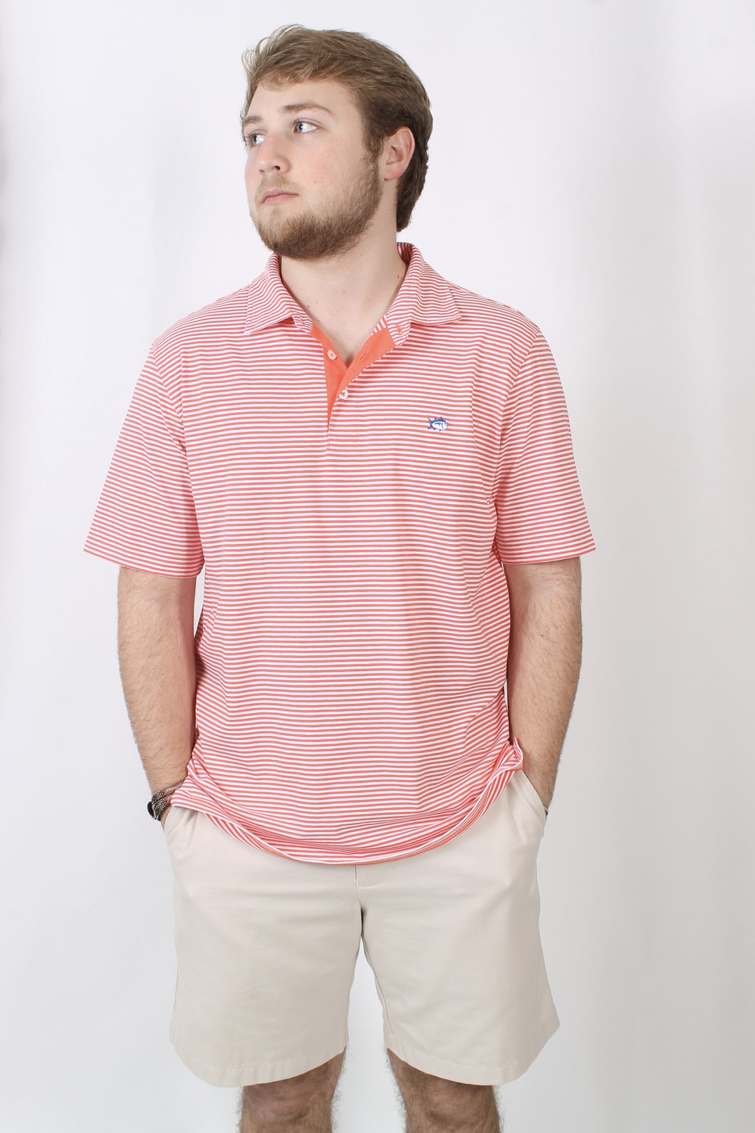 Hot Coral Polo- Southern Tide Channel Marker Striped Polo Front