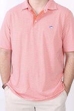 Hot Coral Polo- Southern Tide Channel Marker Striped Polo Detail
