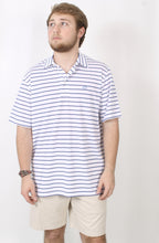 White Polo- Southern Tide Driver Stripe Performance Polo Front