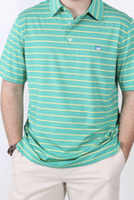 Augusta Green Polo- Southern Tide Driver Stripe Performance Polo Detail
