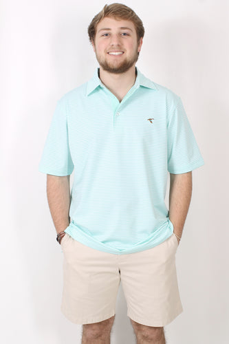 Seafoam Polo- Genteal Stripe Performance Polo Front