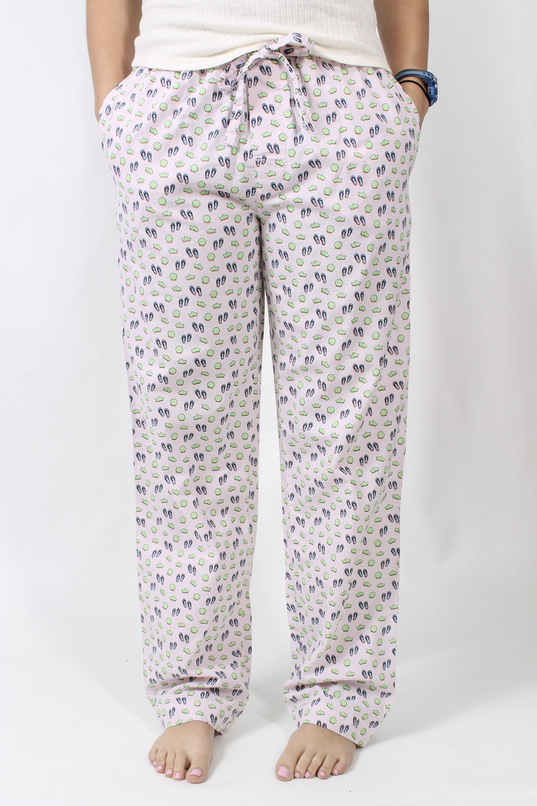 Cameilia with Lime PJs- Southern Marsh Savannah Pastimes Lounge Pant Front