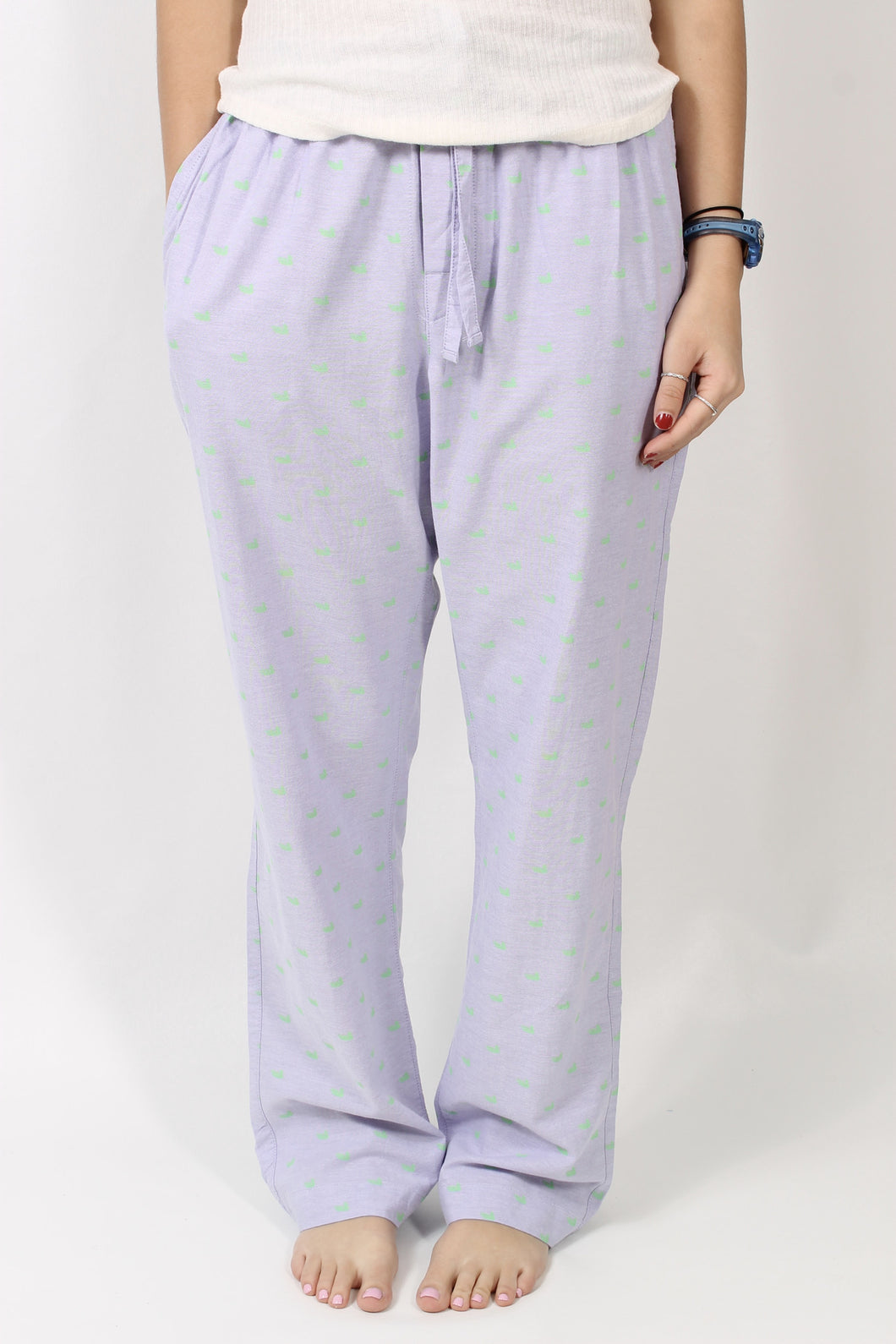 Wharf Purple with Lime Ducks PJs- Southern Marsh Savannah Oxford Lounge Pant Front