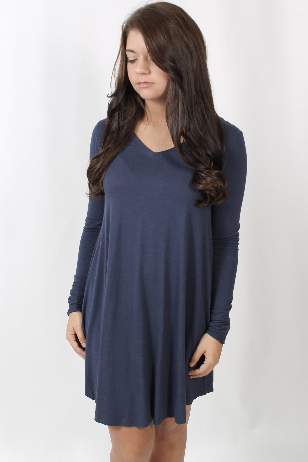 Navy L/S Dress- Z Supply Long Sleeve Breezy Dress Front