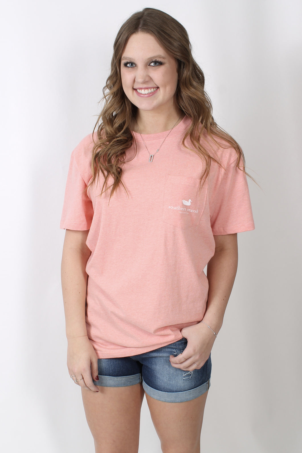 Washed Peach Heather S/S- Southern Marsh Festival Series Tee Front