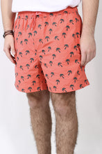 Sunset Coral Trunks- Southern Tide Embroidered Palm Tree Swim Trunk Front