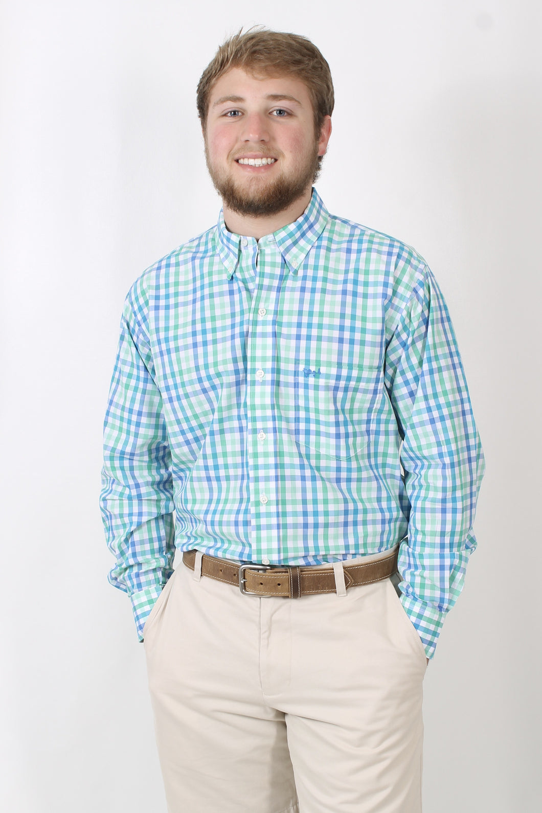 Green Plaid Dress Shirt- Coastal Cotton Button Down Shirt Front