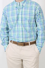 Green Plaid Dress Shirt- Coastal Cotton Button Down Shirt Detail