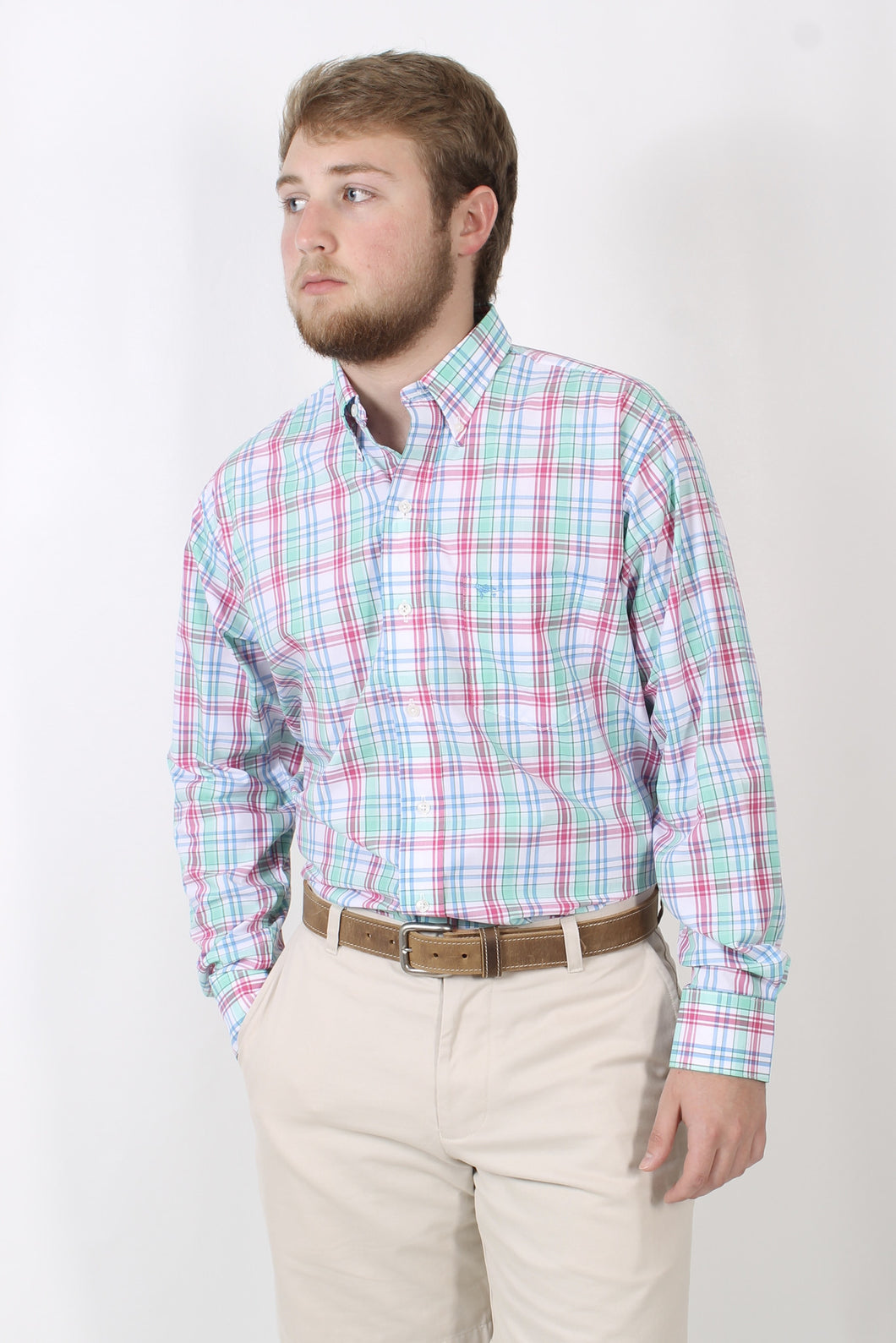 Pink/Green Plaid Dress Shirt- Coastal Cotton Button Down Shirt Front