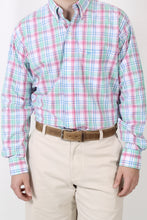 Pink/Green Plaid Dress Shirt- Coastal Cotton Button Down Shirt Detail