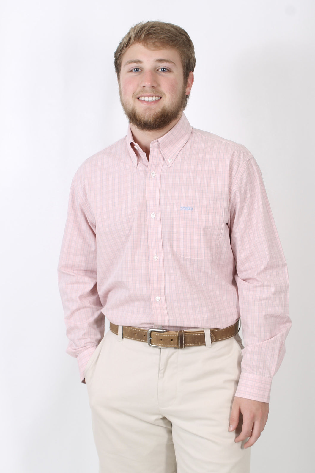 Pink Dress Shirt- Rags Button Down Shirt Front