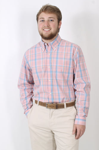 Pink/Blue Dress Shirt- Rags Button Down Shirt Front