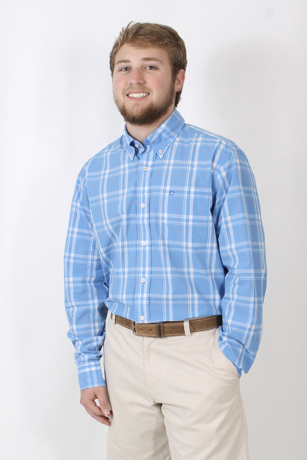 Blue Plaid Dress Shirt- Southern Tide Button Down Shirt Front