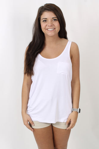 White Tank- Chase Jersey Scoop Neck Pocket Tank Front