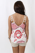 Pink Flower Tank- Chaser Double V Strappy Flounce Tank Back