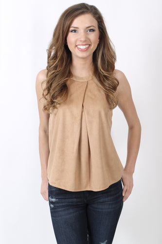 Brown Top- She + Sky High Neck Halter Top Front