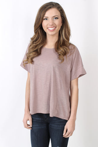 Mauve Top- She + Sky Cutout Ladder Back Top Front