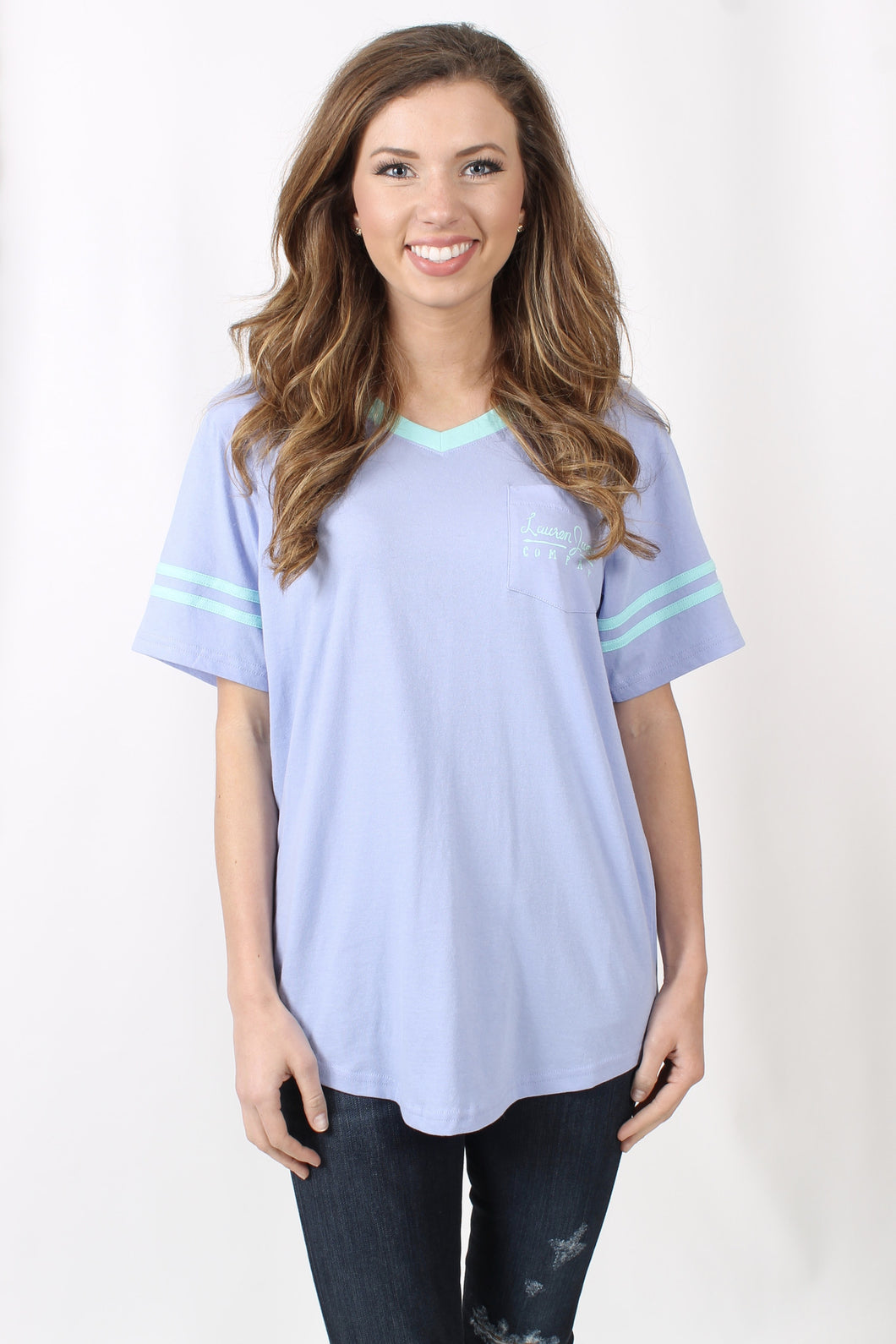 Lilac Flower Tee- Lauren James Baseball Logo Jersey Front